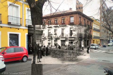Barricada de adoquines. Calle Segovia.