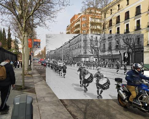 Desfile niños falangistas. Calle Serrano. 1943.