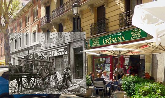 Escombros y terrazas. Calle Toledo.