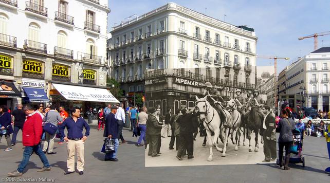 Milicianos a caballo. Puerta del Sol.