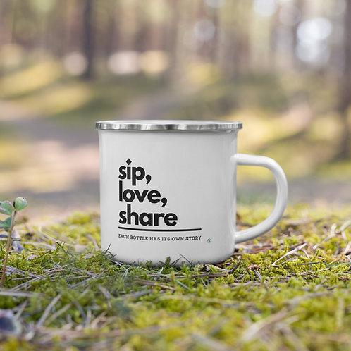 Sip, Love, Share - Enamel Mug
