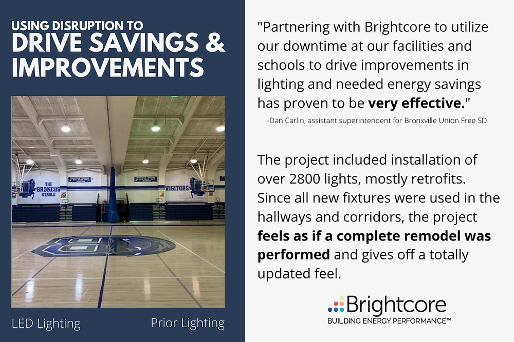 """Brightcore Energy, a leading provider of end-to-end clean energy solutions to the commercial and institutional (""""C&I"""") market, announced the launch of an additional phase of an LED lighting upgrade at the Bronxville Union Free School District."""