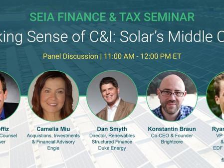 Brightcore's Konstantin Braun  Speaks at SEIA Finance & Tax Seminar