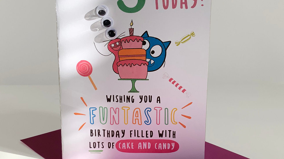 Googly Eyes | Personalised Birthday Card | Little Monster