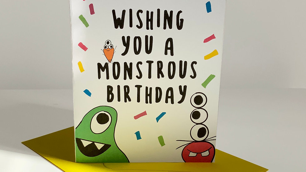 Wishing you a Monstrous Birthday | Quirky | Monster Greeting Card