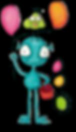Créature fantaisiste avec des ballons multicolores et un oiseau vert sur la tête - Whimsical creature with multicolored balloons and a green bird on his head