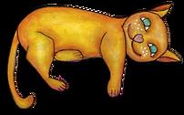 illustration chat orange allongé - illustration of a lying orange cat