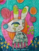 tableau coloré  techniques mixtes d'un lapin et décor de ballons - colorful mixed media painting of a rabbit and balloon decor