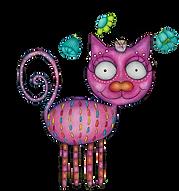 illustration fantaisiste d'un chat rose - whimsical illustration of a pink cat