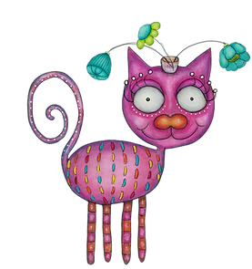 colorful & smiling fancy cat