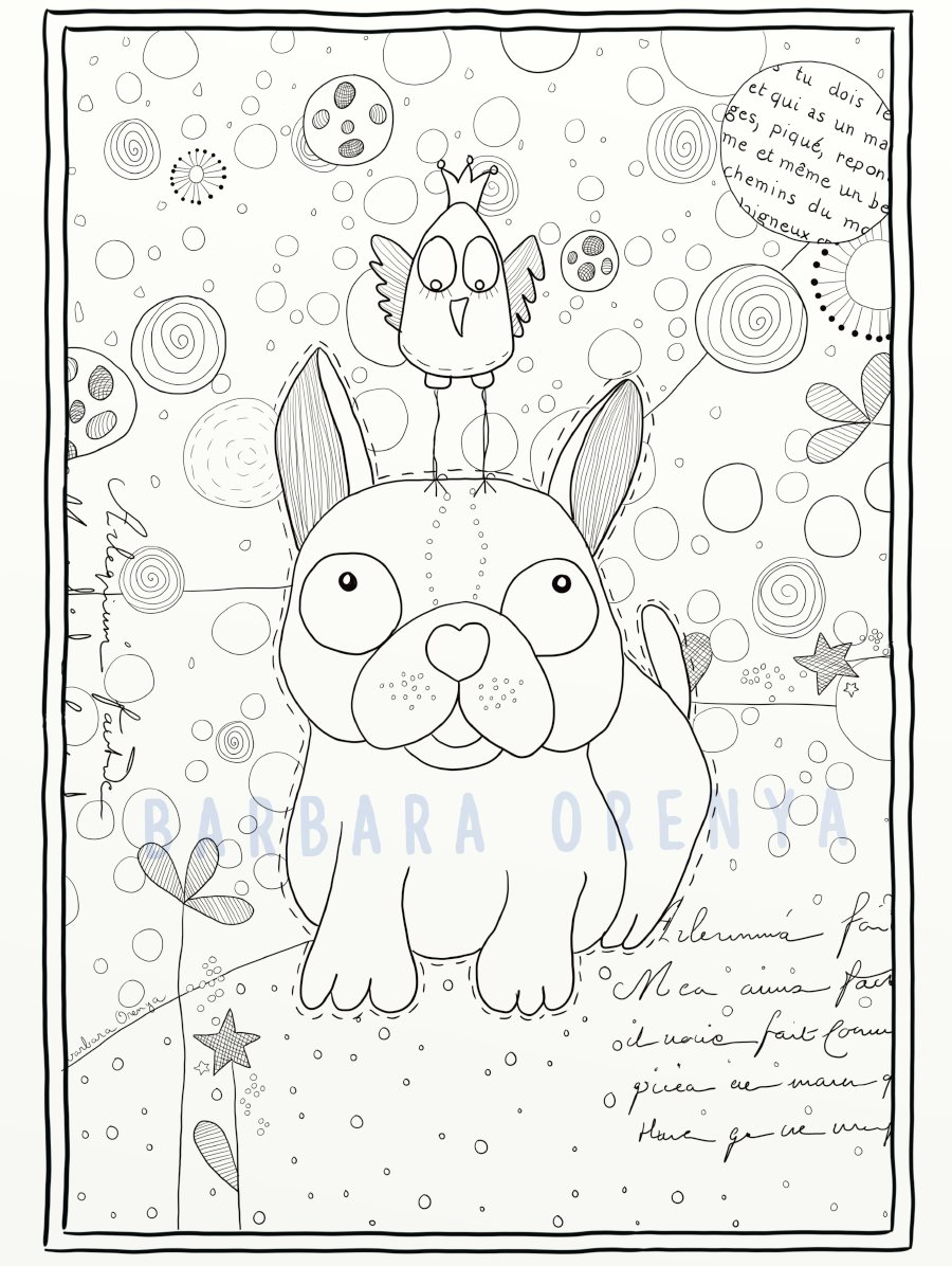 coloriage Dog & bird
