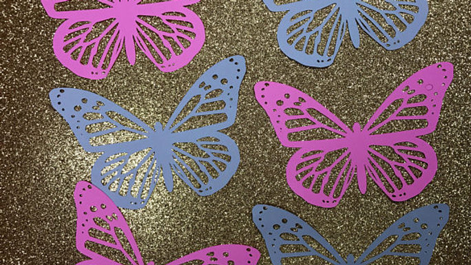 "Style #2, Butterfly Cutouts. Set of 6. Custom colors. 5""X3.4"" LARGE"