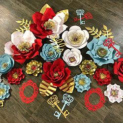 Paper flower walls las vegas paper fleur by jennifer 38 piece paper flower backdrop mightylinksfo