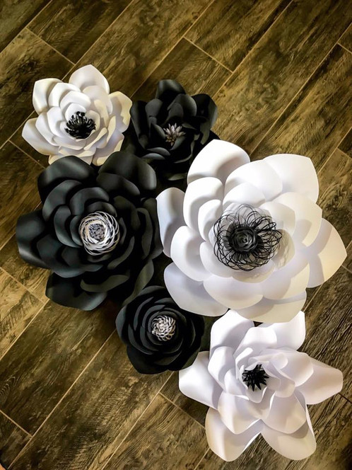 Black and white paper flower backdrop mightylinksfo