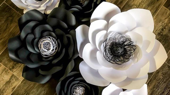 Black and White Paper Flower Backdrop