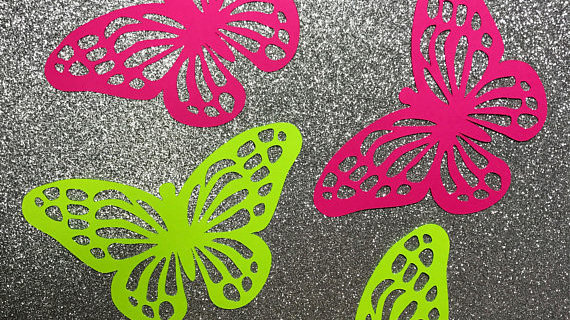 "Butterfly Cutouts, Set of 6, Custom colors. 4""X3"" MEDIUM"