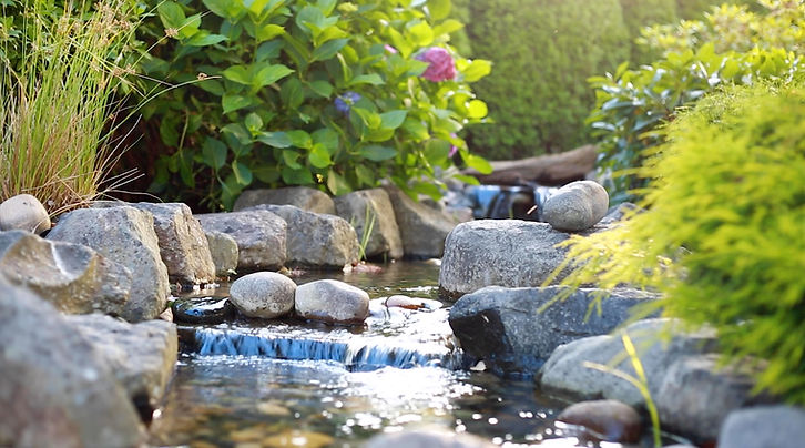 garden pons with waterfall