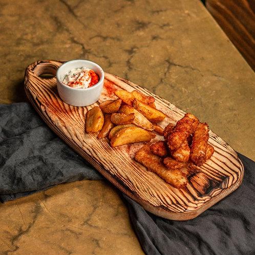 Фиш энд Чипс с кукурузным картофелем и соусом тар-тар