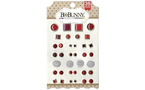 Bo Bunny Ruby Red Double Dot Brads