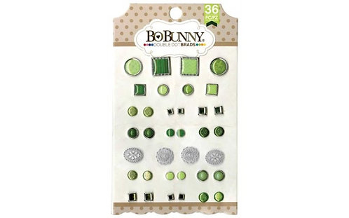 Bo Bunny Emerald Double Dot Brads