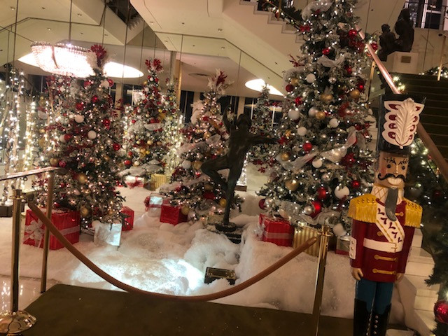 4 Decorated Trees and giftboxes on the l