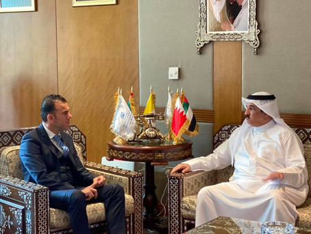 H.E Dr. Tajeddine Seif with Ambassador of Bahrain to UAE, H.E Sheik Khaled Bin Abadullah Al Khalifa
