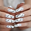 Thumbnail: White Marble Designer Nails : Long Coffin Shape