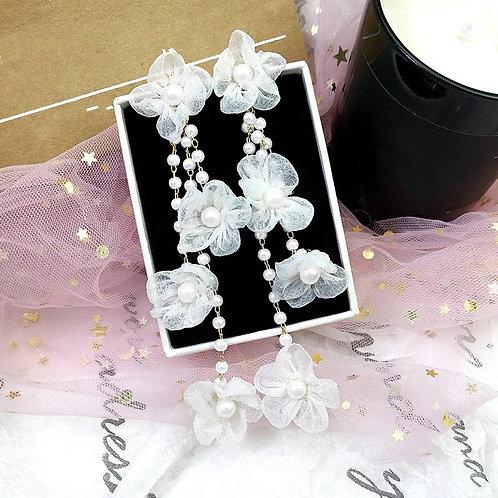 Pearl & Flower Dangle Earrings