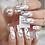 Thumbnail: White Marble Designer Nails : Long Coffin Shape