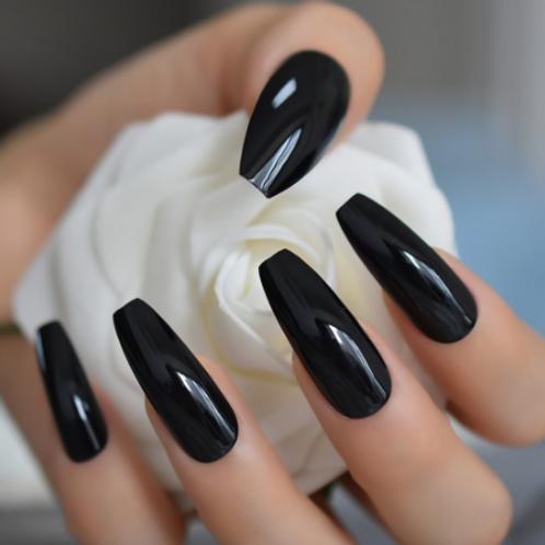 Classic Black Coffin Stiletto Shaped Nails