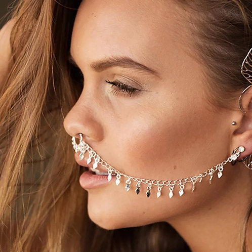 """Luxury """"Fake"""" Septum Nose Ring to Earring Chain"""
