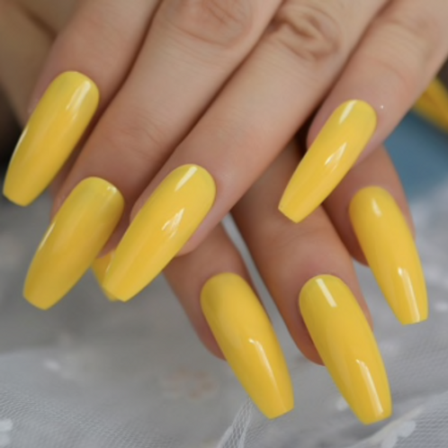 Classic Yellow Coffin: Long Nails