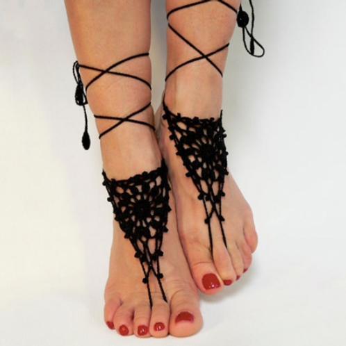 Black Crochet Barefoot Sandals