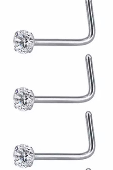 (5 PC)Stainless Steel Nose Rings Clear Crystal L-shape
