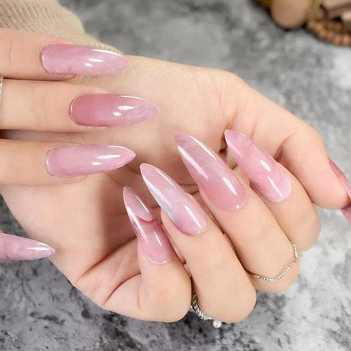 Shiny Frosty Pink Marble : Long Stiletto Shape