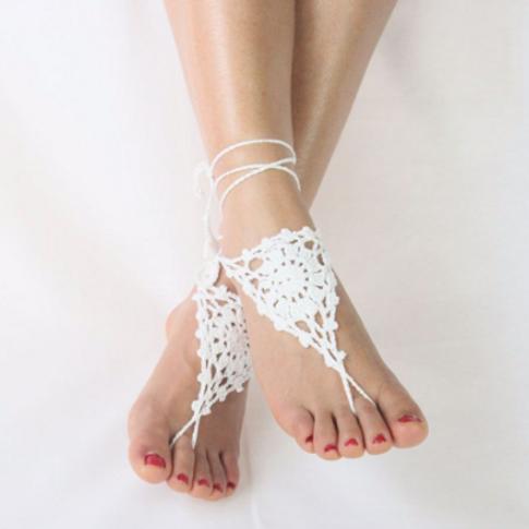White Beach Barefoot Sandals