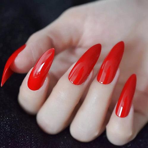Ferrari Red Stiletto : Long Nails