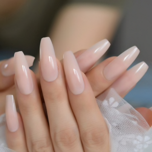 Nude Elegant Coffin : Long Nails