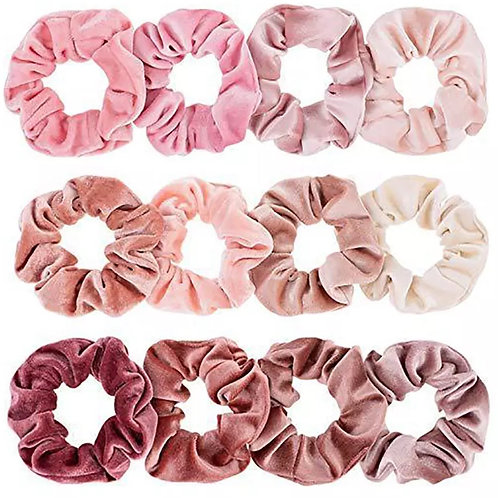 Velvet Hair Scrunchies - 12pk