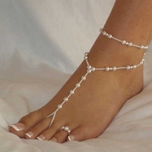 Pearl Anklet & Toe   Barefoot Jewelry