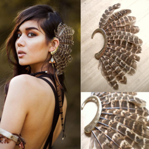 African Feather Clip-On Ear Cuff Jewelry