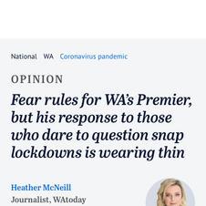 Fear rules for WA's Premier