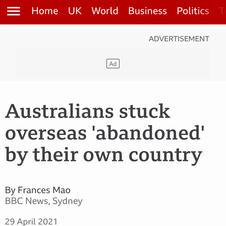 Australians stuck overseas 'abandoned'