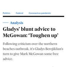 Gladys' blunt advice to McGowan: