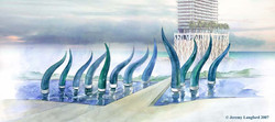 Solis Hotel, Miami. Design for a landscape art water feature