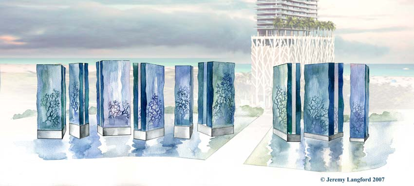Solis Hotel, Miami. Design for a landscape art water feature