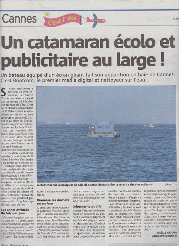 article Nice matin du 6 aout 2019 - ligh