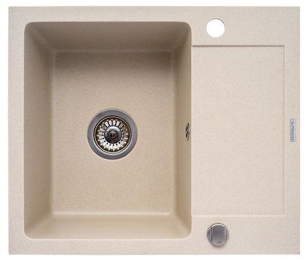 Zlewozmywak granitowy Costa 59x50 1-komorowy Beż PYRAMIS
