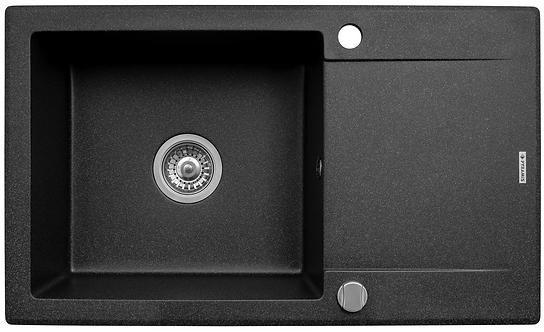 Zlew granitowy Korfu 78x46 1-komorowy Czarny PYRAMIS