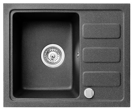 Zlewozmywak granitowy Corto 55,6x45,8 1-komorowy Czarny PYRAMIS